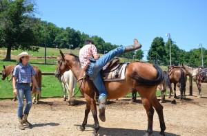 Being able to swing up on a horse is not a requirement, but it's fun to try.