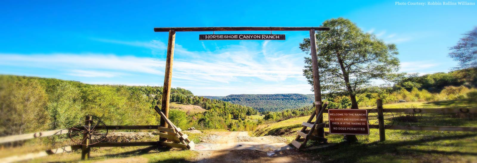 welcome gate at Horseshoe Canyon Ranch