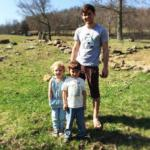 two kids and dad at Horseshoe Canyon Ranch