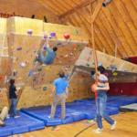 climbing wall in the barn