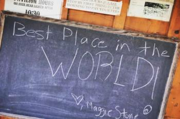 "Chalkboard reading ""Best Place in the WORLD!"""