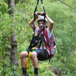 boy on zip line